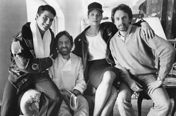 Boscutti - Don Simpson - Actor Tom Cruise, Producer Don Simpson, Actor Kelly McGillis, and Producer Jerry Bruckheimer on location on Top Gun