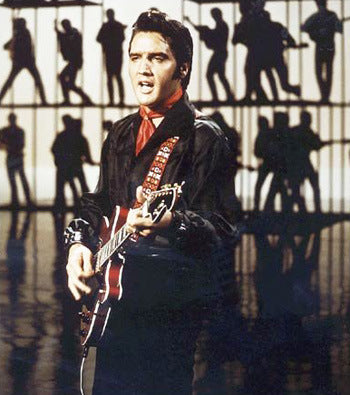 Boscutti - Elvis Presley - Elvis Presley playing a 1968 Red Hagstrom Viking II electric guitar