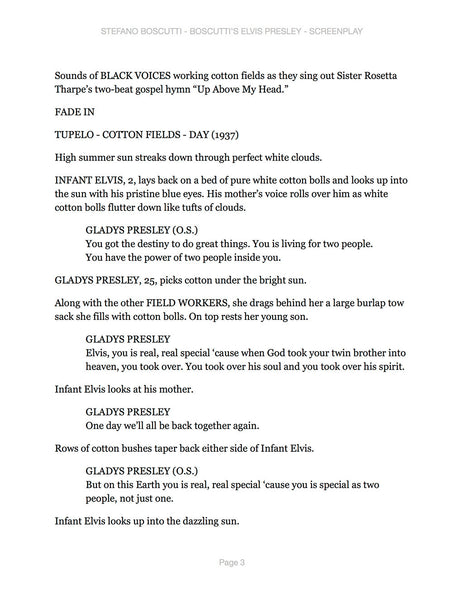 Stefano Boscutti - Boscutti Elvis Presley Screenplay - Sample Page 3