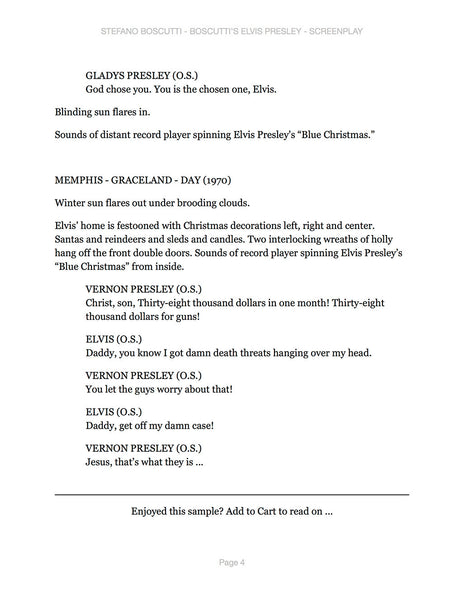 Stefano Boscutti - Boscutti Elvis Presley Screenplay - Sample Page 4
