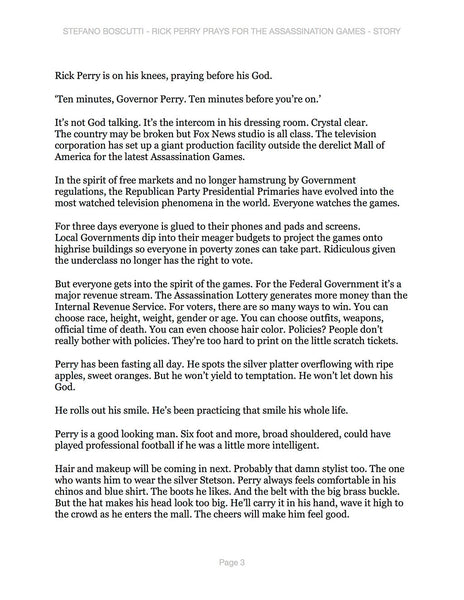 Stefano Boscutti - Rick Perry Prays for the Assassination Games Story - Sample Page 3