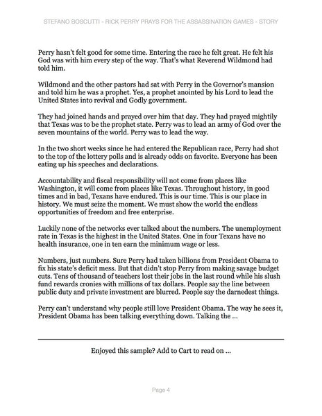 Stefano Boscutti - Rick Perry Prays for the Assassination Games Story - Sample Page 4