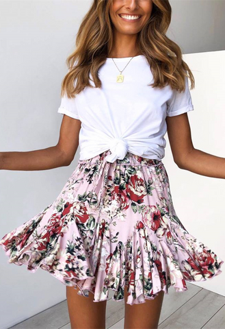 Pink Floral Print Withdraw Mini Skirt