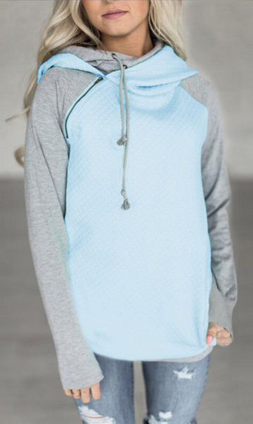 Blue Gray Block Zipper Hoodie Sweatshirt