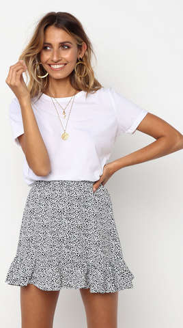 White Leopard Print Mini Skirt