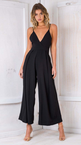 Black Bowtie Backless Jumpsuits