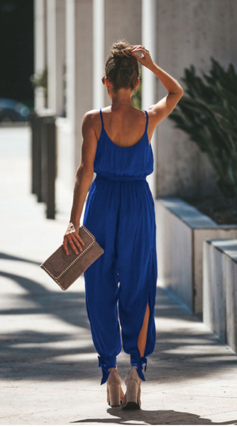 Royal Blue Surplice V Neck High Slits Jumpsuits