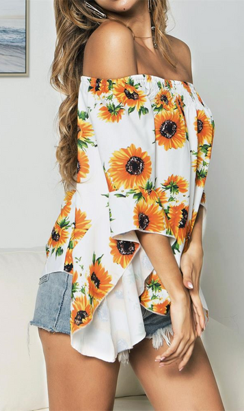 White Sunflower Off the Shoulder Top