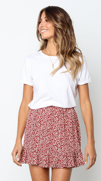 Red Floral Flounced Mini Skirt