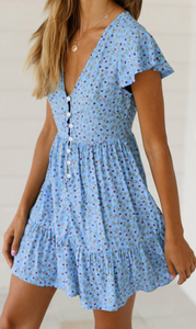 Blue Floral Button Down Skater Dress