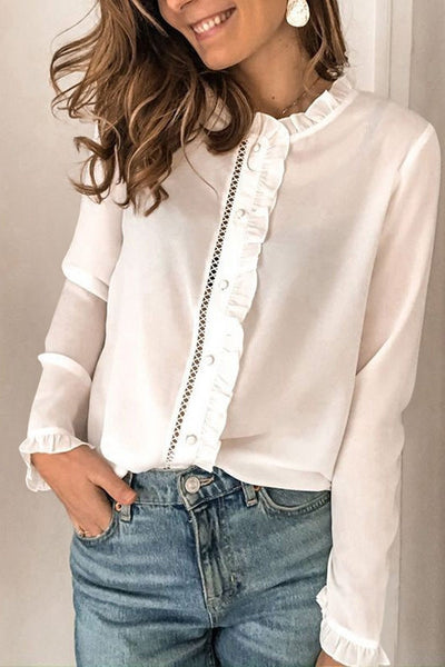White Frilled Neckline Buttoned French Shirt
