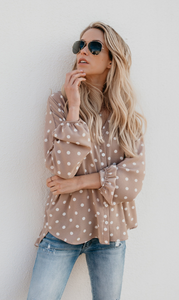 Khaki Polka Dot Button Down Blouse