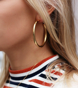 Golden Metallic Hoop Earring