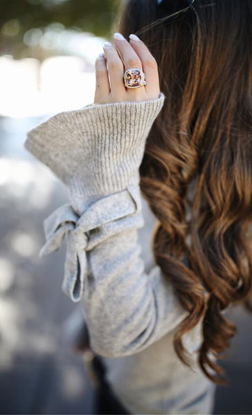 Gray Bell Cuff Slim Knit Sweater