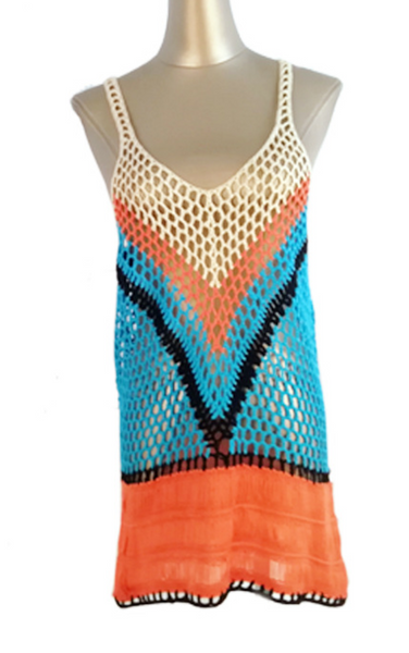 Blue Color Block Crochet Beach Dress Cover-Up