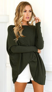 Olive Green Slouchy Batwing Oversized Tunic