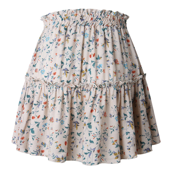 Delicate Beige Floral Withdraw Mini Skirt