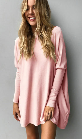 Pink Slouchy Batwing Oversized Tunic