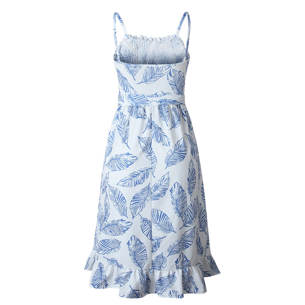 Blue Foliage Silhouette Smocked Dress