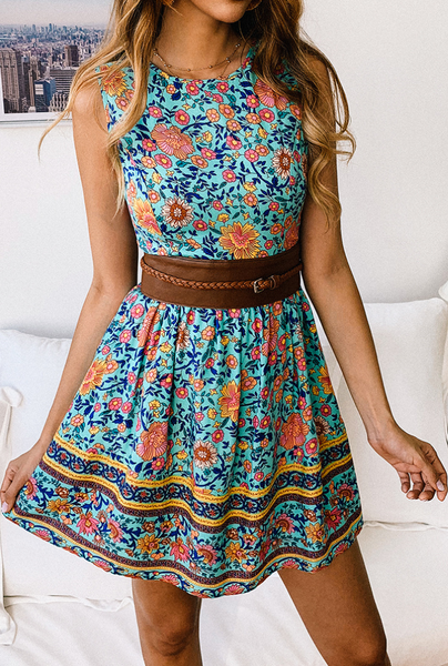 Vintage Floral Mini Dress-Green