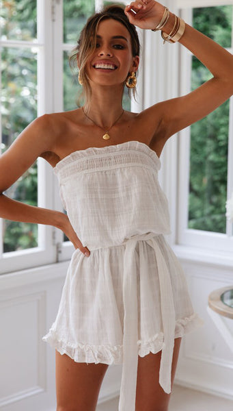 White Off-the-shoulder Rompers