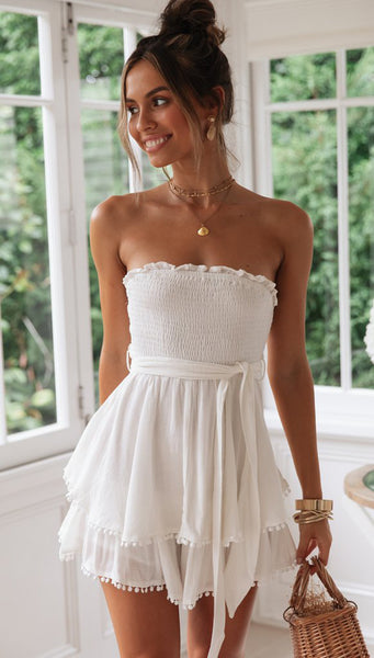 White Smocked Off-the-shoulder Rompers