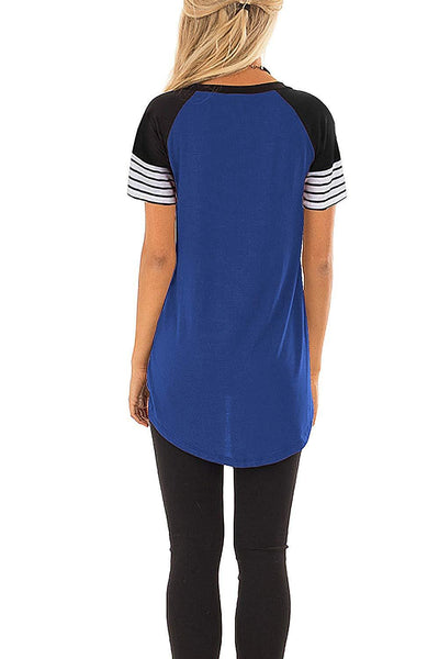 Royal Blue Striped Short Sleeve Tee
