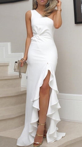 White One Sholder High Slit Dress