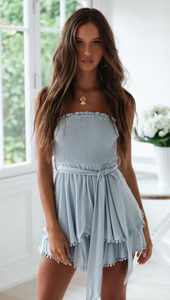 Slate Blue Smocked Off-the-shoulder Rompers