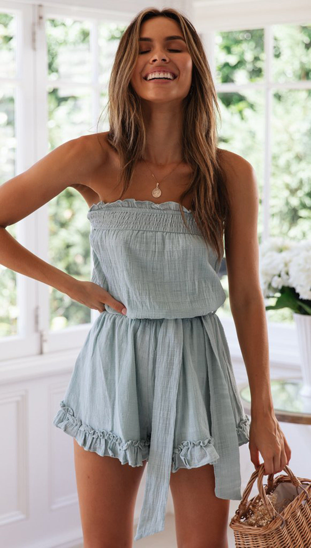 Slate Blue Off-the-shoulder Rompers