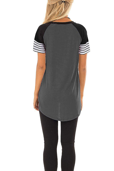 Gray Striped Short Sleeve Tee