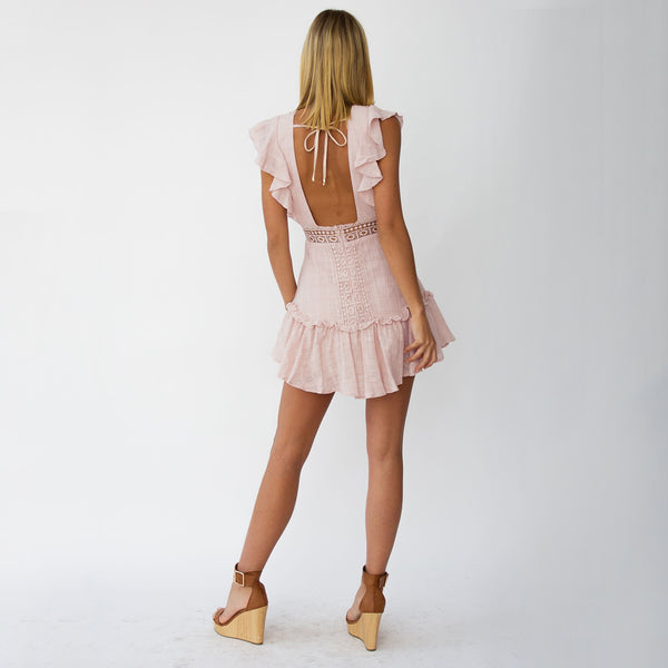 Pink Crochet Lace Plunging Mini Dress