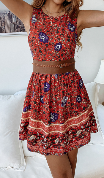 Vintage Floral Mini Dress-Red