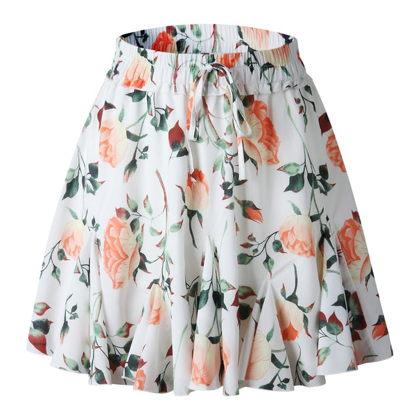 Orange Rose Print Withdraw Mini Skirt