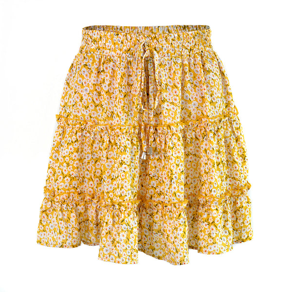 Yellow Floral Print Withdraw Mini Skirt
