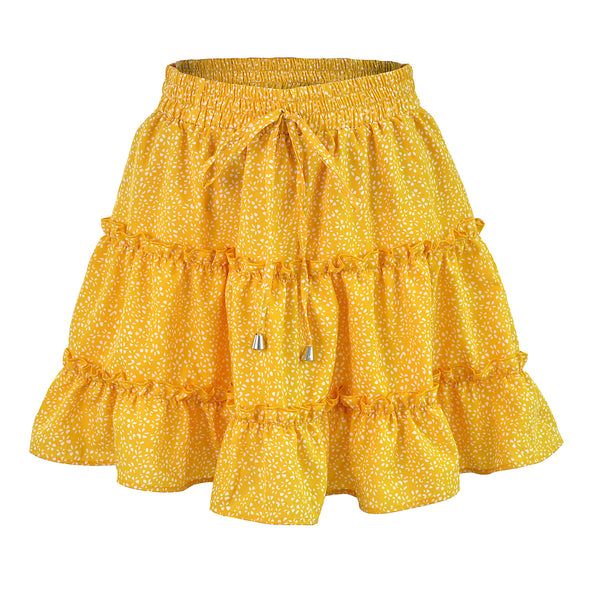 Yellow Petal Print Withdraw Mini Skirt