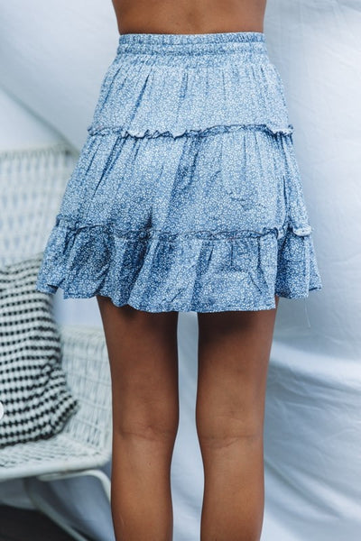 Blue Petal Print Withdraw Mini Skirt