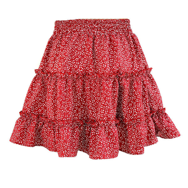 Red Petal Print Withdraw Mini Skirt