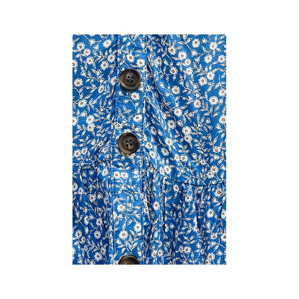 Blue Floral Button Up Short Sleeve Dress