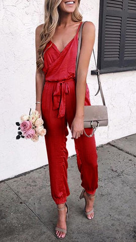 Red Surplice V Neck Withdraw Jumpsuits