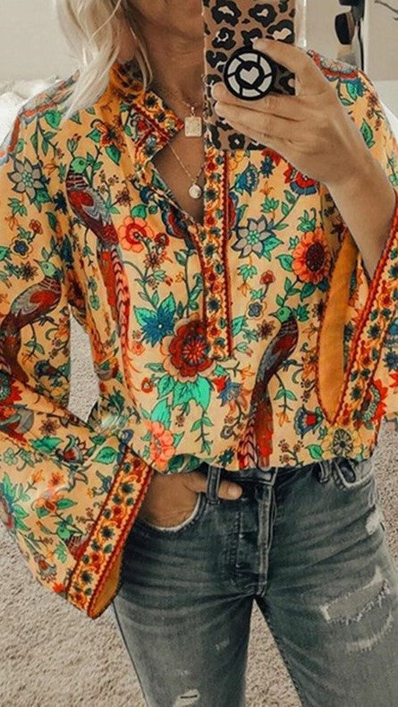 Yellow Tribal Floral Buttoned Blouse
