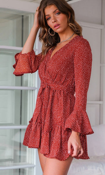 Red Polka Dot Surplice Flare Sleeves Dress
