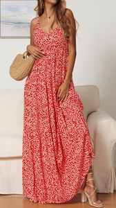 Red Floral Loose Cami Maxi Dress