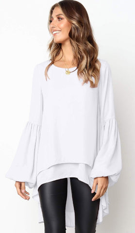 White High Low Flare Chiffon Shirt