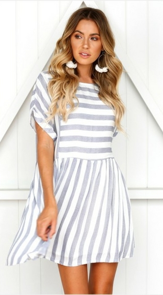 Gray Stripe Pleated Skater Dress