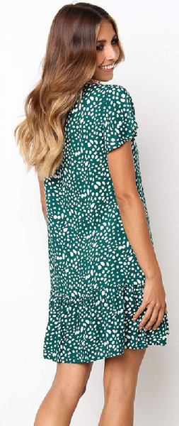 Green Dot Button Up Short Sleeve Dress