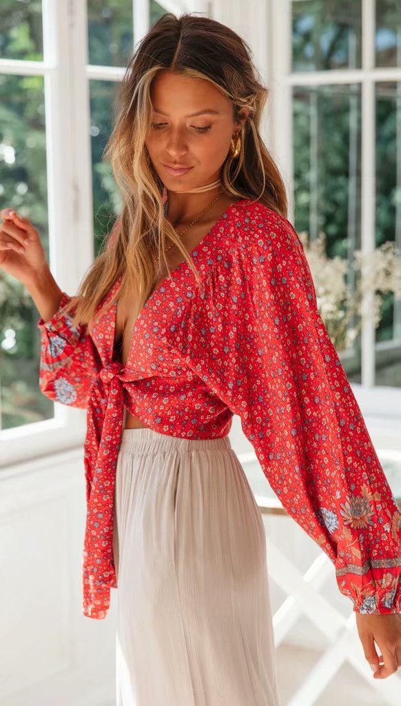 Red Vintage Floral Knot Crop Top
