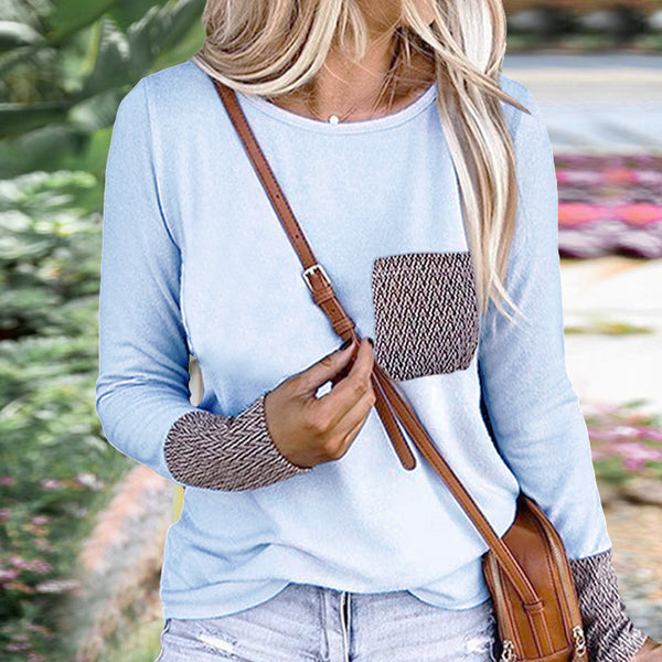 Blue Patterned Pockets T-Shirt