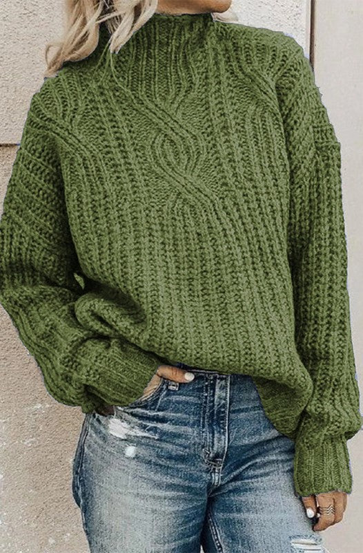 Olive Green Cable Knit High Neck Sweater