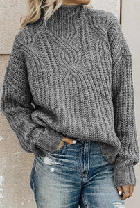 Gray Cable Knit High Neck Sweater